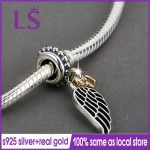 LS 100% 925 <b>Silver</b> 1.4k Real G.old Angel wing with heart Dangle Pendants Fit Original Bracelets Pulseira Paracord Fine <b>Jewelry</b> N