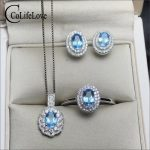 Classic <b>silver</b> topaz jewelry set for party natural light blue topaz ring <b>earrings</b> pendant wedding set solid 925 <b>silver</b> jewelry