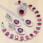 Red Stone White Zircon 925 Sterling <b>Silver</b> Jewelry Sets For Women Wedding Earrings/Pendant/Ring/<b>Bracelet</b>/Necklace Set