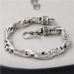 JINSE 100% Real Pure 925 Sterling <b>Silver</b> Bracelets for Women Men Fine <b>Jewelry</b> Vintage S925 Solid Thai <b>Silver</b> Chain Bracelet