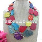 Multi Color Sea Sediment Stone <b>Necklace</b>