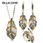 Blucome Abalone Shell <b>Jewelry</b> Sets For Women Mix Color Shell Rhinestone Vintage Flower Leaves Dangle Earring Necklace Ring Set