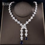 RAKOL Top Quality Leaves Shape CZ Crystal With Blue Crystal Tassles necklaces & pendants For Women Girls <b>Wedding</b> <b>Jewelry</b>