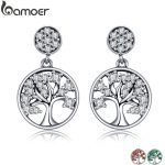 BAMOER Genuine 100% 925 Sterling Silver Tree of Life ,AAA Zircon Drop Earrings for Women Sterling Silver <b>Jewelry</b> Brincos SCE067