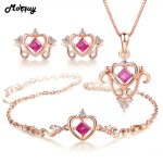 MoBuy Vintage Ruby Natural Gemstone 3pcs Jewelry Sets 100% 925 Sterling <b>Silver</b> Fine Jewelry For Women Engagement V019AEHN