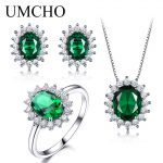 UMCHO 925 Sterling <b>Silver</b> Jewelry Set Nano Green Emerald Ring Pendant Stud <b>Earrings</b> For Women Brand Fine Jewelry Top Quality