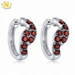Hutang Stone Jewelry <b>Earrings</b> 2.24ct Natural Gemstone Red Garnet Solid 925 Sterling <b>Silver</b> Fine Fashion Jewelry For Women's Gift
