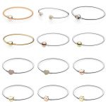 Rose Gold MOMENTS Mesh Bangle Love Heart Two-Tone Signature Open Bangle Fit Europe Bracelet 925 Sterling Silver Bead Charm