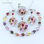 L&B colorful <b>Silver</b> color Wedding Jewelry Sets For Women Bridal jewelry zircon <b>Bracelet</b> Earrings Pendant Necklace Ring