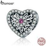 BAMOER Real 925 Sterling Silver Romantic Blooming Flower in Heart Charm Beads fit Women Bracelets Bangles DIY <b>Jewelry</b> SCC685