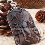 925 Silver Natural Ice Obsidian <b>Handmade</b> Carved Chinese GuanGong Lucky Amulet Pendant + Beads Necklace Fashion Charm <b>Jewelry</b>