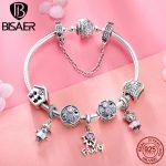 925 <b>Sterling</b> <b>Silver</b> Bracelets Love Family House Safety Chain Femme Bracelets & Bangles for Women Pulseira <b>Silver</b> <b>Jewelry</b> ECB810