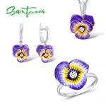 Santuzza <b>Jewelry</b> Set HANDMADE Enamel Purple Flower CZ Stone Ring Earrings Pendent Necklace 925 <b>Sterling</b> <b>Silver</b> Women <b>Jewelry</b> Set