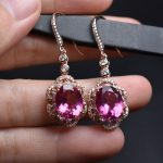 On Sale Fine Jewelry real high quality 925 sterling <b>Silver</b> 100% Natural Pink Topaz Gemstone <b>Earrings</b> For Women Fine <b>earrings</b>