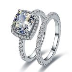 Size5-11 Cushion-cut AAA CZ Luxury <b>Jewelry</b> 10kt white gold filled Guard Simulated stones <b>Wedding</b> Engagement Women Ring set gift
