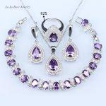 L&B <b>silver</b> Color 925 Logo Jewelry Sets For Women Light Purple Stone White crystal <b>Bracelet</b>/Pendant/Necklace/Earrings/Rings