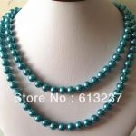 Trendy high grade 12mm blue shell simulated-pearl round beads chains rope necklace long chain <b>jewelry</b> <b>making</b> 36inch MY4176