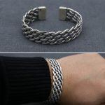 Vintage Solid <b>Silver</b> 925 Weave Band Cuff Bangle Bracelet Men Women Simple Design 100% Real <b>Sterling</b> <b>Silver</b> 925 Handmade <b>Jewelry</b>