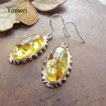 Yoowei Amber Dangle Earring for Women Classical <b>Sterling</b> <b>Silver</b> Oval Baltic Natural Amber Drop Ear <b>Jewelry</b> Unique Christmas Gift