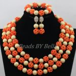 <b>Handmade</b> Orange Coral Balls <b>Jewelry</b> Set Nigerian Wedding African Beads Coral Necklace Bridal <b>Jewelry</b> Sets Free Shipping ABF781