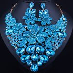 Exquisite 3D flowers exaggerated crystal rhinestones <b>necklace</b> earrings set African bridal <b>jewelry</b> sets