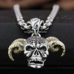 925 Sterling <b>Silver</b> Devil Goat Skull Pendant Red CZ Stone Head Brass Horn Biker Punk Style 8N021 Steel <b>Necklace</b> 24inch