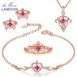 LAMOON 2018 New Real 925-Sterling-<b>Silver</b> Natural Red Ruby 4PCS Jewelry Sets S925 Fine Jewelry for Women Wedding Gift V019-1