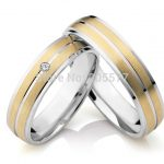 2014 new design european Style <b>Handmade</b> titanium engagement wedding promise rings sets <b>jewelry</b> with gold plating