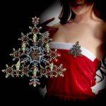 <b>Antique</b> Gold Metal Christmas Tree Brooch Crystal Rhinestone Snowflake Star Pin Women Garment Fashion <b>Jewelry</b> Accessory