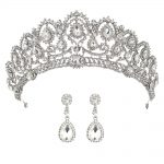 Wedding Crown Bridal Tiaras with Earrings Princess Crown for Women Bride Headband Head piece Hair <b>Jewelry</b> hair ornaments diadem