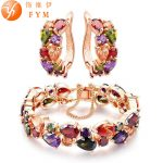 FYM Rose Gold Color <b>Jewelry</b> Sets for Women Party Mona Lisa Colorful Crystal Bracelet Earrings Multicolor <b>Jewelry</b> Set Wholesale