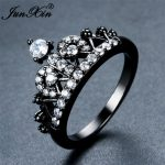 JUNXIN Vintage Female Crown Ring With White AAA Zircon Black Gold Finger Ring Fashion <b>Wedding</b> Rings For Women <b>Jewelry</b> Gifts
