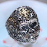 S925 <b>sterling</b> <b>silver</b> <b>jewelry</b> Thai <b>silver</b> male ring King Kong gorilla fashion ring