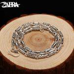 ZABRA Real 925 <b>Sterling</b> <b>Silver</b> 4mm 60cm Bamboo Shape Men's Long Necklace Vintage Steampunk Retro Link Chain Cool <b>Silver</b> <b>Jewelry</b>