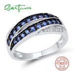 SANTUZZA Silver Ring For Women 925 Sterling Silver Chic Female Ring Blue Nano Cubic Zirconia Glamorous Ring Fashion <b>Jewelry</b>