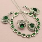 Green Five Colors Cubic Zirconia <b>Silver</b> Color Jewelry Sets For Women Wedding Drop Earrings <b>Bracelet</b> Necklace Ring Free Gift Box