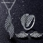 ANFASNI 2017 New 925 <b>Sterling</b> <b>Silver</b> <b>Jewelry</b> Set Feather Clear Cubic Zirconia <b>Jewelry</b> Sets For Women Engagement <b>Jewelry</b>