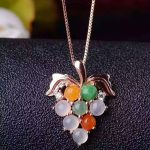 natural Multi-color jade pendant S925 <b>silver</b> Natural gemstone Pendant Necklace trendy Luxury Grape string women gril <b>jewelry</b>