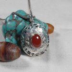 Handcrafted 925 <b>Silver</b> Nepalese Lucky Symbol Pendant <b>Necklace</b> Tibetan Red Stone Pendant <b>Necklace</b> Bohemia Jewelry