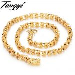 TENGYI Vintage Delicate Yellow Gold Color Necklace Double Dragon Long Chain 24Inch Cool Men's Luxury <b>jewelry</b> Never Fade TY445