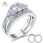 Peacock Star Vintage Style 1 Ct Sterling 925 Silver 2-Pc Wedding Anniversary Engagement Ring Set <b>Jewelry</b> CFR8102