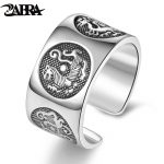 ZABRA Solid Silver 999 Adjustable Rings For Men Vintage Chinese Four Mythic Animal Personality Silver Ring Female <b>Jewelry</b>
