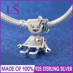 2018 Spring New Real 925 <b>Silver</b> Pink Enamel Bella Bot Charm Fit Original Bracelets&<b>Necklace</b> DIY Gift.Women Wedding Jewelry Beads