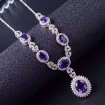 Natural amethyst <b>Necklace</b> natural crystal Pendant <b>Necklace</b> S925 <b>silver</b> trendy Elegant Round lock women party fine Jewelry