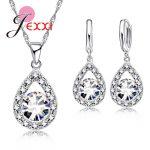 Romantic Women Lady Party Wedding Jewelry Sets 925 Sterling <b>Silver</b> Full Cubic Zirconia Water Drop Necklace <b>Earrings</b> Set