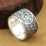 <b>Handmade</b> 999 Silver Dragon Tiger Ring The Chinese Four Mythic Beasts Ring Real Pure Silver Good Luck Ring Fengshui Lucky <b>Jewelry</b>