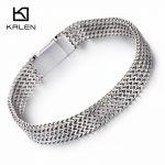 Kalen Men's 21cm Fashion Mesh Bracelet Stainless Steel <b>Jewelry</b> High Polished Slight Hand Chain <b>Accessories</b> Boyfriend Gifts