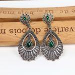 Vintage 925 <b>Sterling</b> <b>Silver</b> Earrings Peacock Plume Drop <b>Silver</b> Earrings Elegant chalcedony Party Earrings for Women Fine <b>jewelry</b>