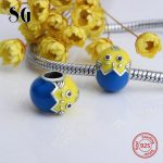 SG 925 silver little chick charms beads with blue&yellow enamel fit authentic pandora bracelets <b>jewelry</b> <b>making</b> for women gifts