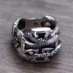 100% Genuine 925 Sterling <b>Silver</b> Retro Men Male Ring Thai <b>Silver</b> Fine <b>Jewelry</b> Gift Snake Cross Heavy Finger Ring CH057436